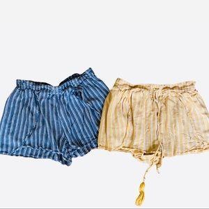 AEO Soft Stripe LOT 2 Shorts Blue White Yellow S